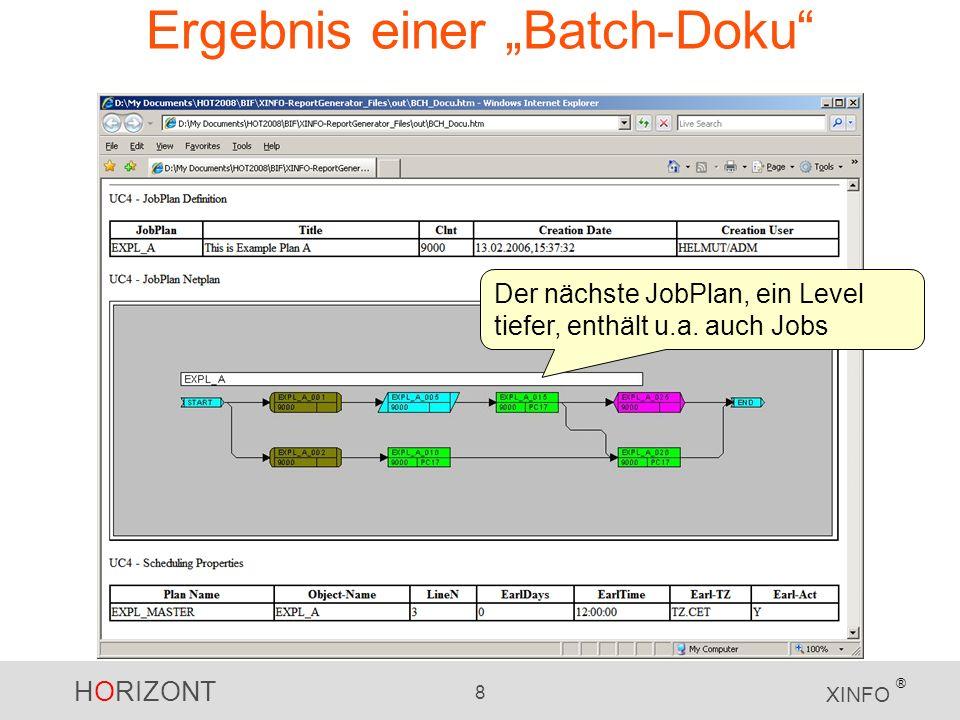 HORIZONT 8 XINFO ® Ergebnis einer Batch-Doku Der nächste JobPlan, ein Level tiefer, enthält u.a. auch Jobs