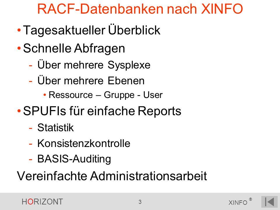 HORIZONT 3 XINFO ® RACF-Datenbanken nach XINFO Tagesaktueller Überblick Schnelle Abfragen -Über mehrere Sysplexe -Über mehrere Ebenen Ressource – Grup