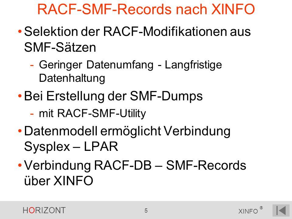 HORIZONT 5 XINFO ® RACF-SMF-Records nach XINFO Selektion der RACF-Modifikationen aus SMF-Sätzen -Geringer Datenumfang - Langfristige Datenhaltung Bei Erstellung der SMF-Dumps -mit RACF-SMF-Utility Datenmodell ermöglicht Verbindung Sysplex – LPAR Verbindung RACF-DB – SMF-Records über XINFO
