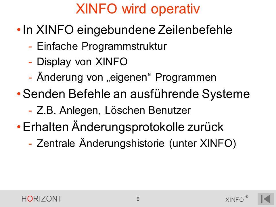 HORIZONT 8 XINFO ® XINFO wird operativ In XINFO eingebundene Zeilenbefehle -Einfache Programmstruktur -Display von XINFO -Änderung von eigenen Programmen Senden Befehle an ausführende Systeme -Z.B.
