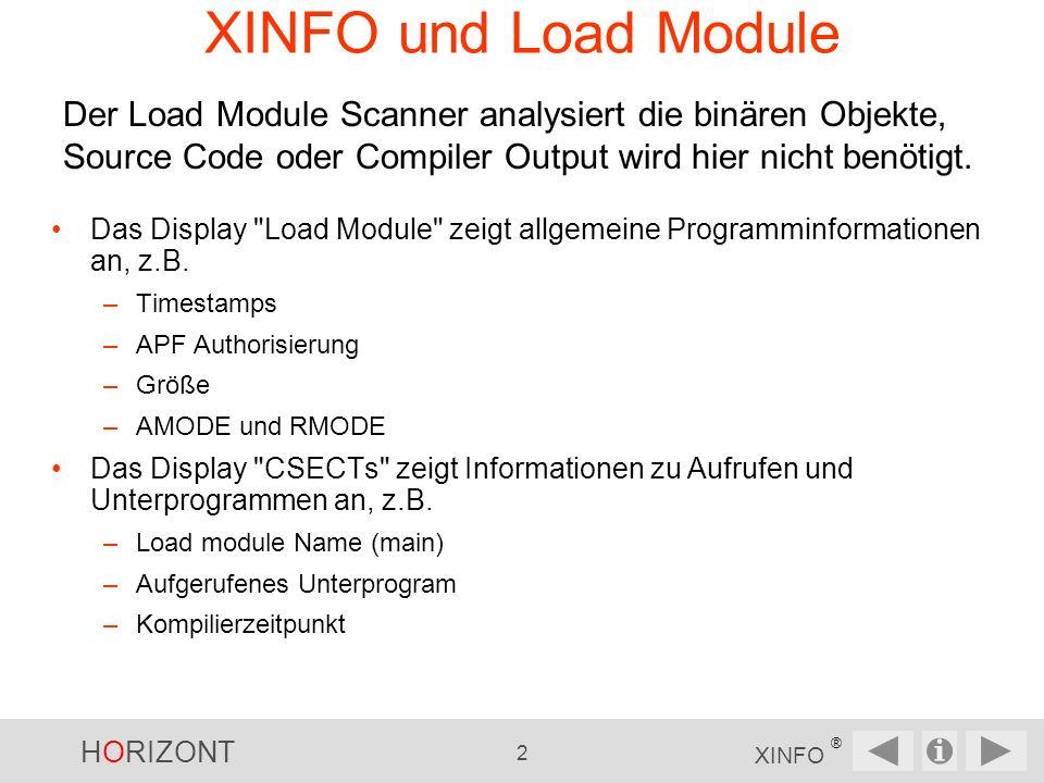 HORIZONT 2 XINFO ® XINFO und Load Module Das Display