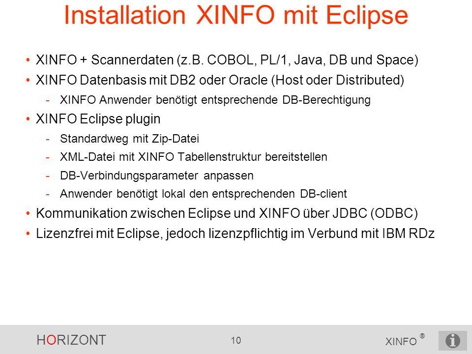 HORIZONT 10 XINFO ® Installation XINFO mit Eclipse XINFO + Scannerdaten (z.B. COBOL, PL/1, Java, DB und Space) XINFO Datenbasis mit DB2 oder Oracle (H
