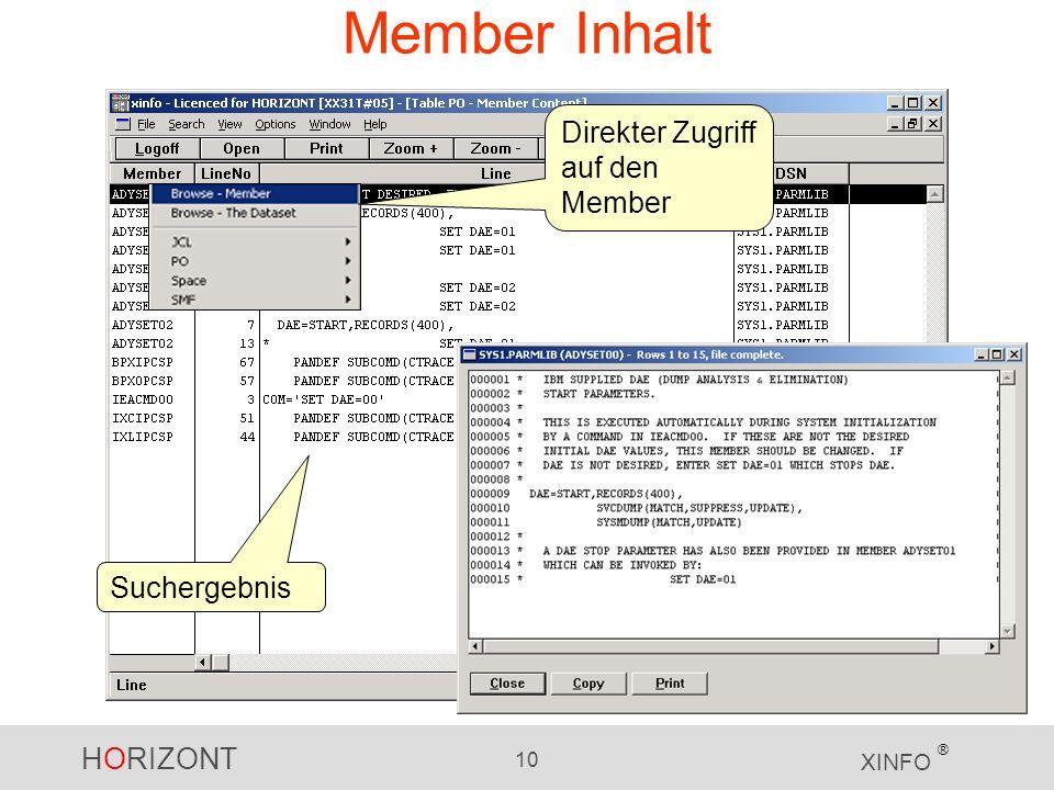 HORIZONT 10 XINFO ® Member Inhalt Suchergebnis Direkter Zugriff auf den Member
