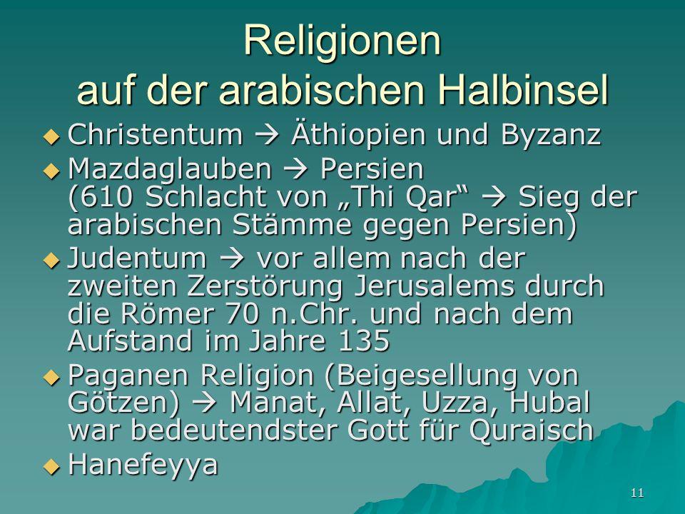11 Religionen auf der arabischen Halbinsel Christentum Äthiopien und Byzanz Christentum Äthiopien und Byzanz Mazdaglauben Persien (610 Schlacht von Th