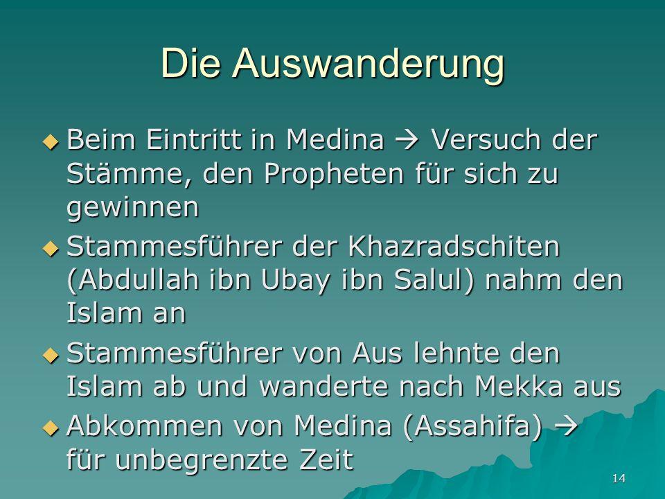 14 Die Auswanderung Beim Eintritt in Medina Versuch der Stämme, den Propheten für sich zu gewinnen Beim Eintritt in Medina Versuch der Stämme, den Pro