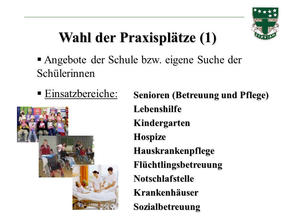 Wahl der Praxisplätze (1) Angebote der Schule bzw. eigene Suche der Schülerinnen Einsatzbereiche: Senioren (Betreuung und Pflege) LebenshilfeKindergar