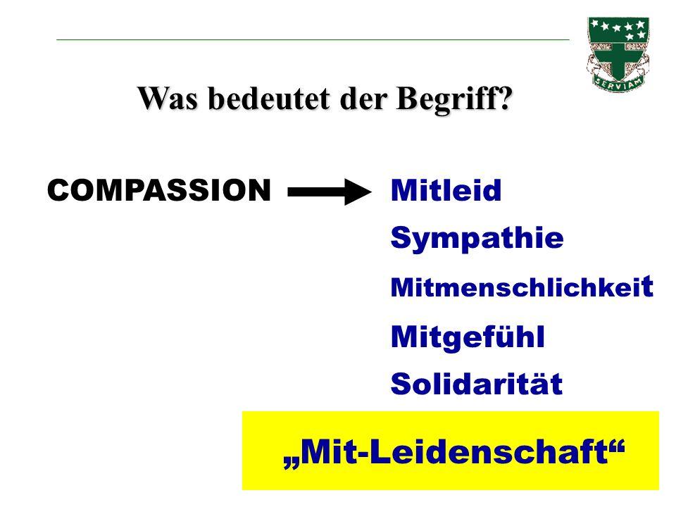 Was bedeutet der Begriff? COMPASSIONMitleid Sympathie Mitmenschlichkei t Mitgefühl Solidarität Mit-Leidenschaft