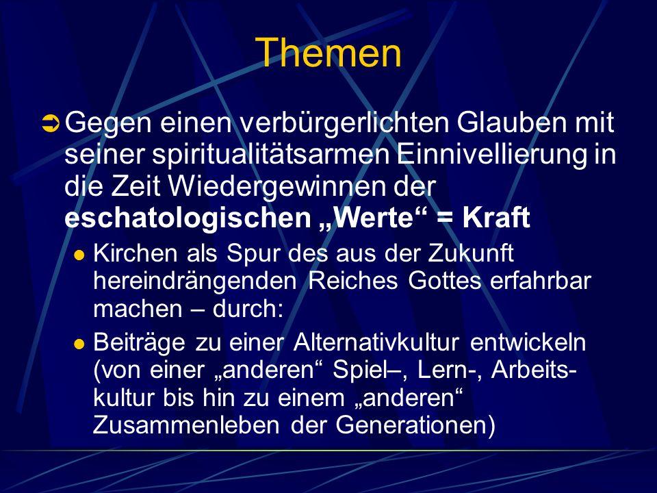 Themen Gegen einen verbürgerlichten Glauben mit seiner spiritualitätsarmen Einnivellierung in die Zeit Wiedergewinnen der eschatologischen Werte = Kra