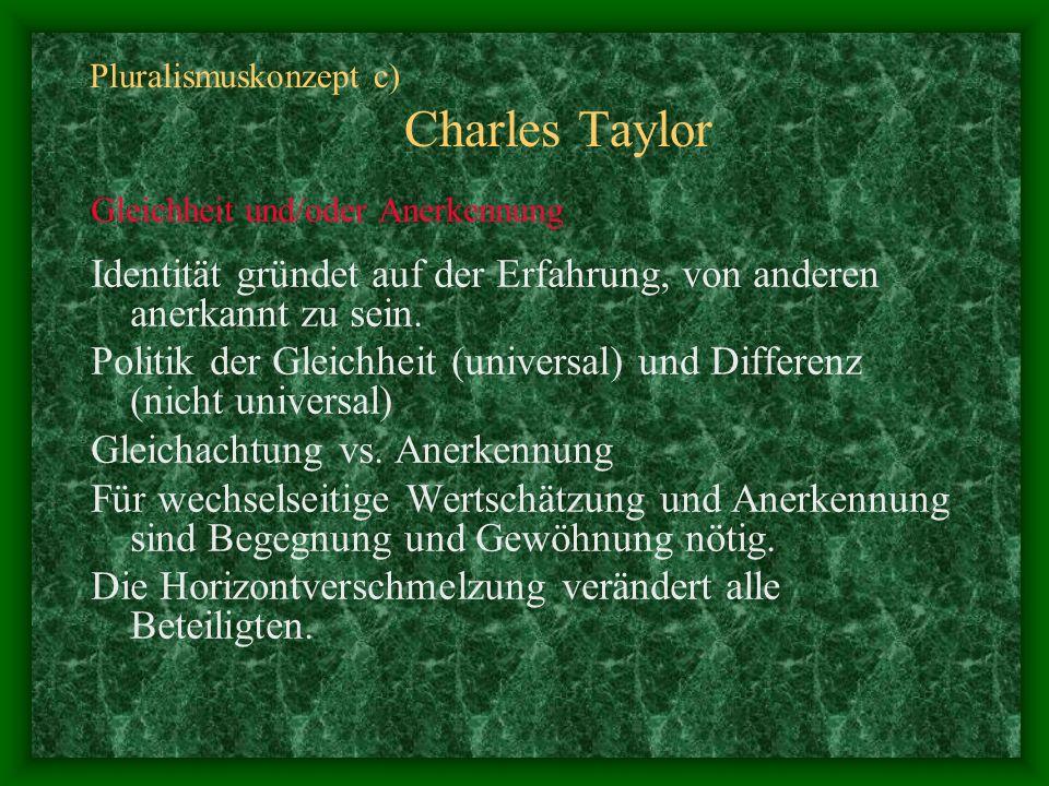 Pluralismuskonzept c) Charles Taylor Gleichheit und/oder Anerkennung Identität gründet auf der Erfahrung, von anderen anerkannt zu sein. Politik der G