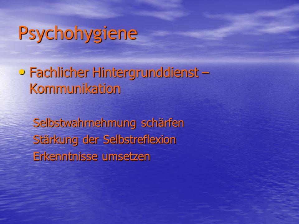Psychohygiene Fachlicher Hintergrunddienst – Kommunikation Fachlicher Hintergrunddienst – Kommunikation Selbstwahrnehmung schärfen Stärkung der Selbst