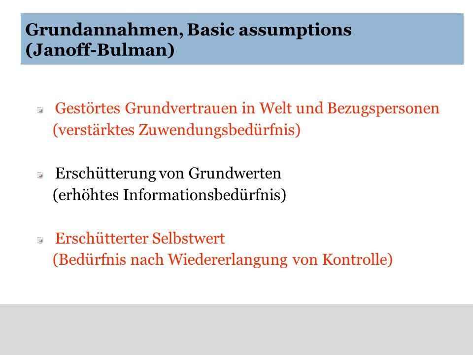 Grundannahmen, Basic assumptions (Janoff-Bulman) Gestörtes Grundvertrauen in Welt und Bezugspersonen (verstärktes Zuwendungsbedürfnis) Erschütterung v