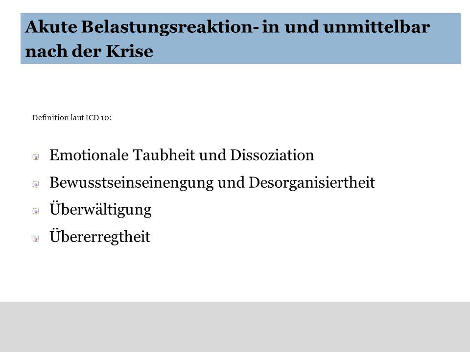 Akute Belastungsreaktion- in und unmittelbar nach der Krise Definition laut ICD 10: Emotionale Taubheit und Dissoziation Bewusstseinseinengung und Des