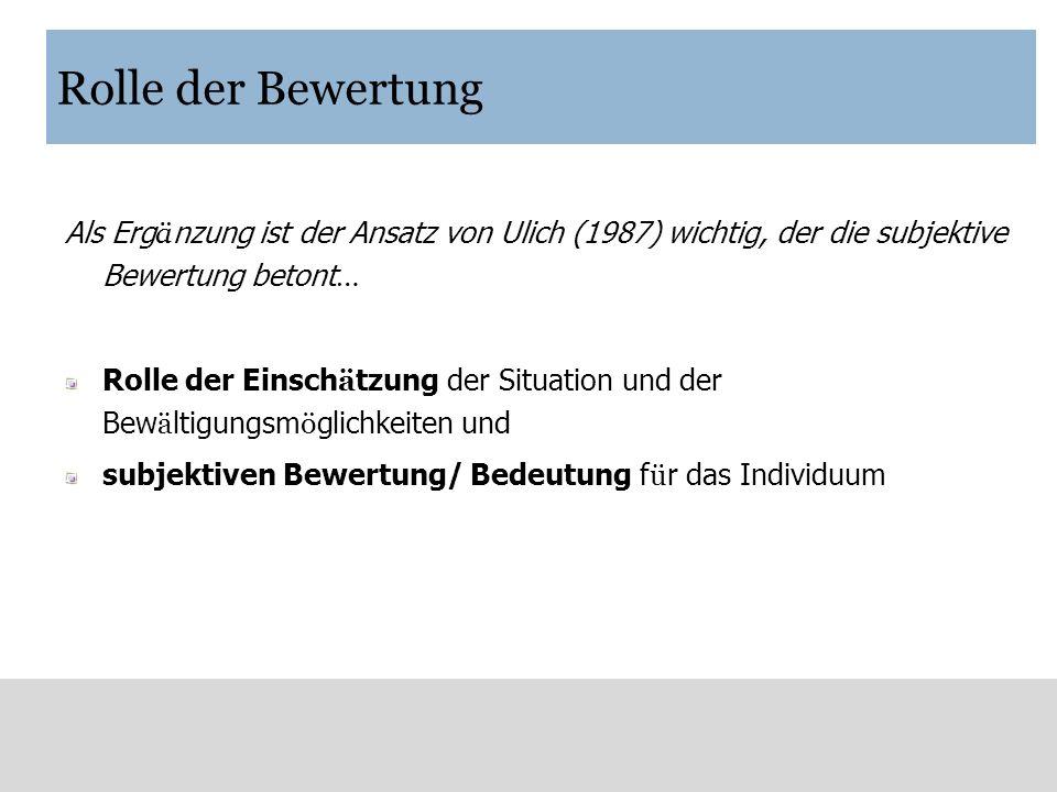 Rolle der Bewertung Als Erg ä nzung ist der Ansatz von Ulich (1987) wichtig, der die subjektive Bewertung betont … Rolle der Einsch ä tzung der Situat