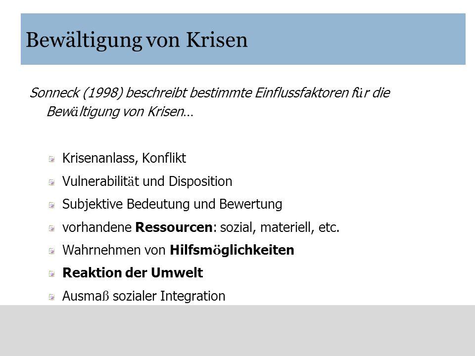 Bewältigung von Krisen Sonneck (1998) beschreibt bestimmte Einflussfaktoren f ü r die Bew ä ltigung von Krisen … Krisenanlass, Konflikt Vulnerabilit ä