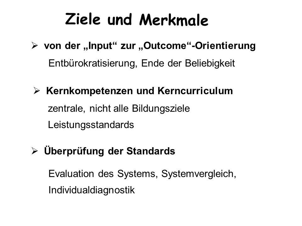 Ziele und Merkmale von der Input zur Outcome-Orientierung Kernkompetenzen und Kerncurriculum Überprüfung der Standards Entbürokratisierung, Ende der B