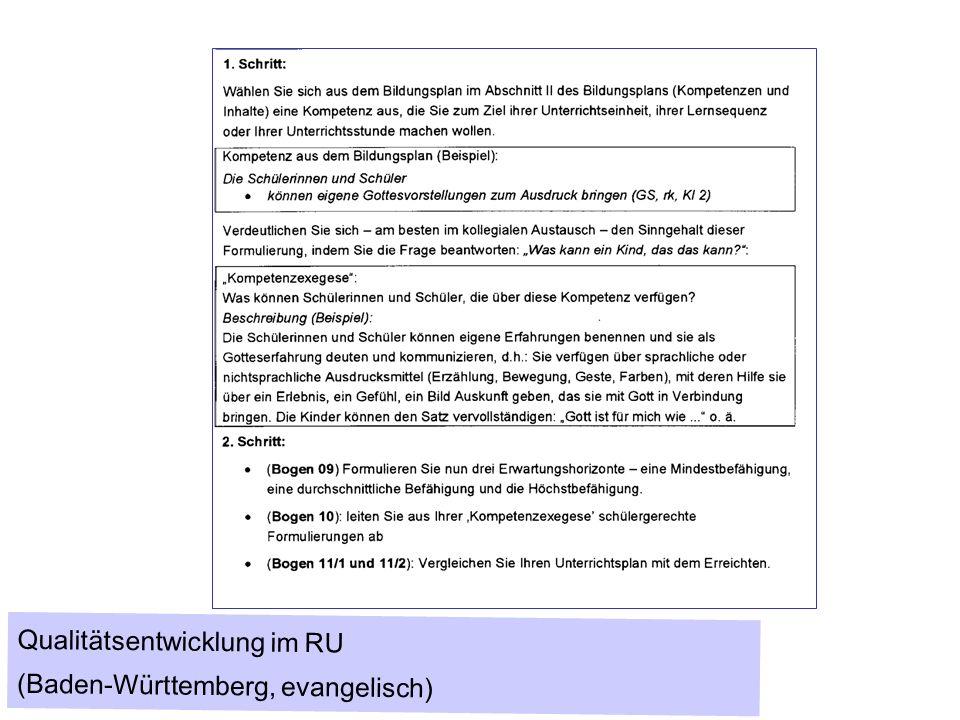 Qualitätsentwicklung im RU (Baden-Württemberg, evangelisch)