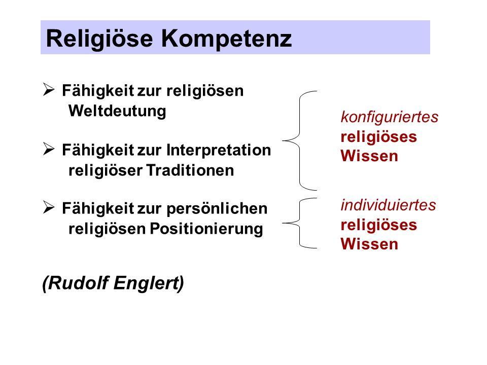 Religiöse Kompetenz Fähigkeit zur religiösen Weltdeutung Fähigkeit zur Interpretation religiöser Traditionen Fähigkeit zur persönlichen religiösen Pos