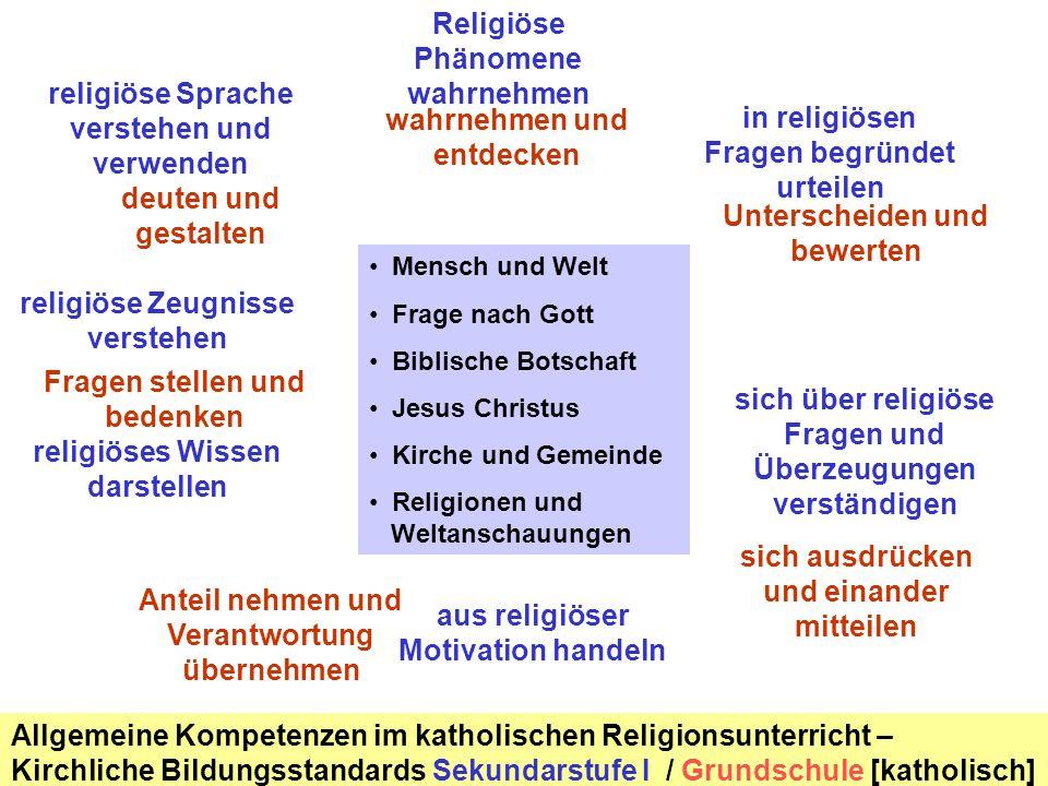 Mensch und Welt Frage nach Gott Biblische Botschaft Jesus Christus Kirche und Gemeinde Religionen und Weltanschauungen Religiöse Phänomene wahrnehmen