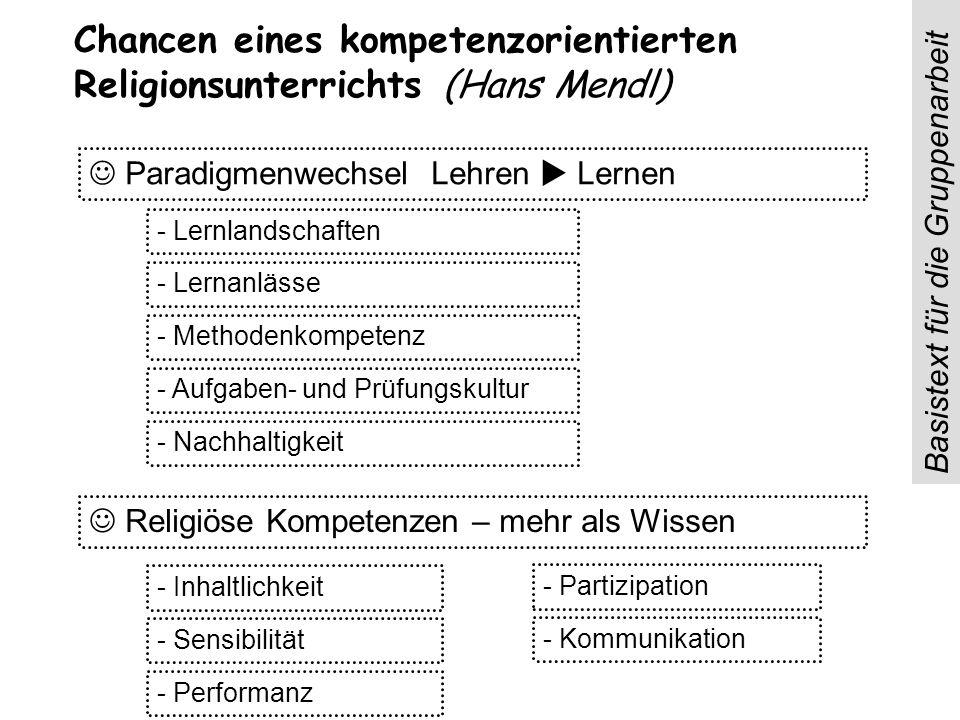Chancen eines kompetenzorientierten Religionsunterrichts (Hans Mendl) Paradigmenwechsel Lehren Lernen Religiöse Kompetenzen – mehr als Wissen - Lernla