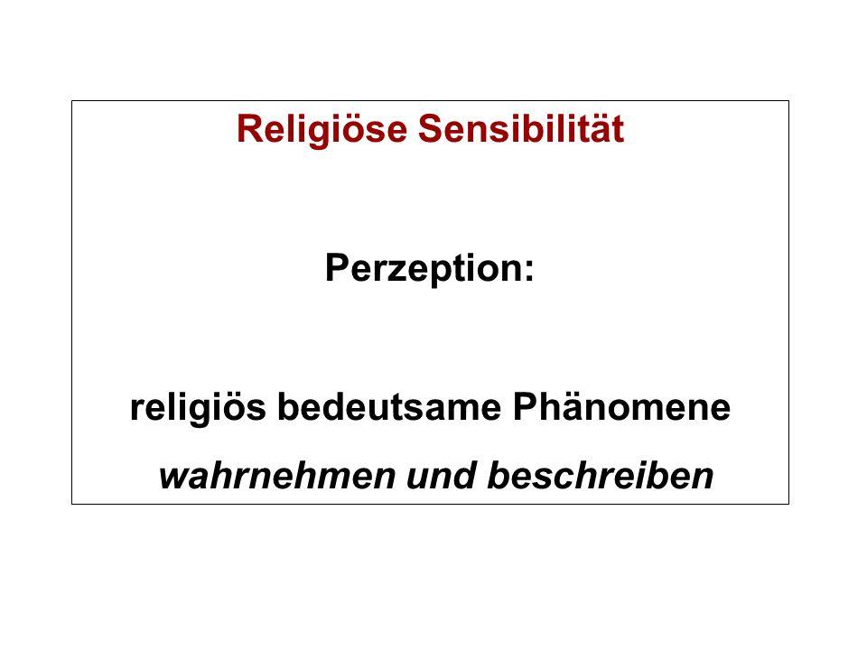 Religiöse Sensibilität Perzeption: religiös bedeutsame Phänomene wahrnehmen und beschreiben
