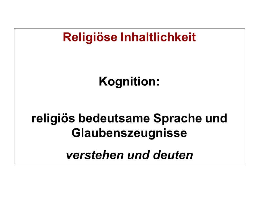 Religiöse Inhaltlichkeit Kognition: religiös bedeutsame Sprache und Glaubenszeugnisse verstehen und deuten