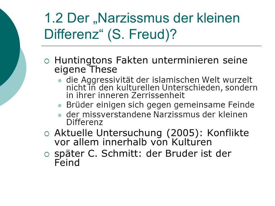 1.2 Der Narzissmus der kleinen Differenz (S.Freud).