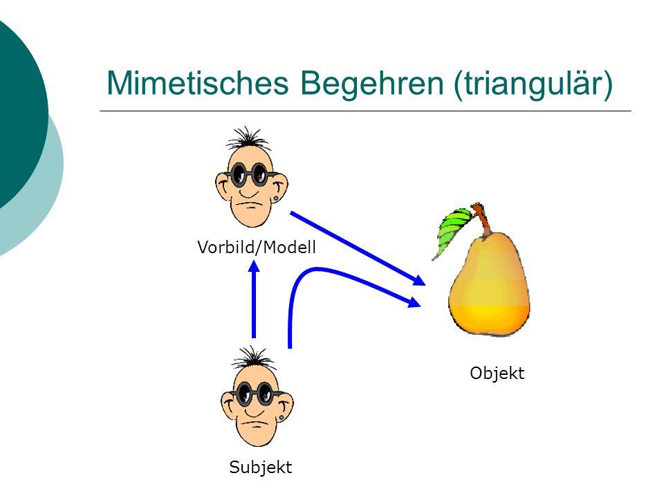 Mimetisches Begehren (triangulär) Vorbild/Modell Subjekt Objekt