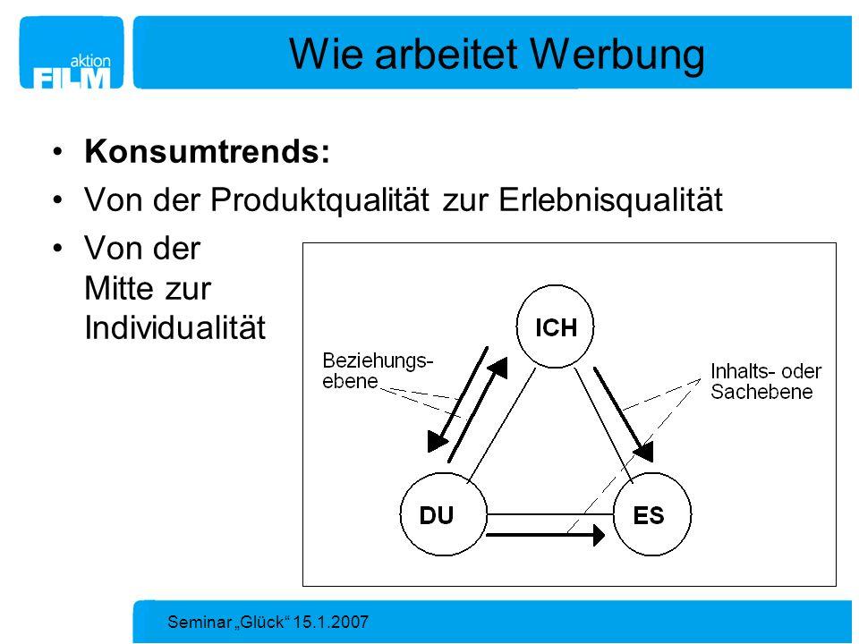 Seminar Glück 15.1.2007 Wie arbeitet Werbung Konsumtrends: Von der Produktqualität zur Erlebnisqualität Von der Mitte zur Individualität