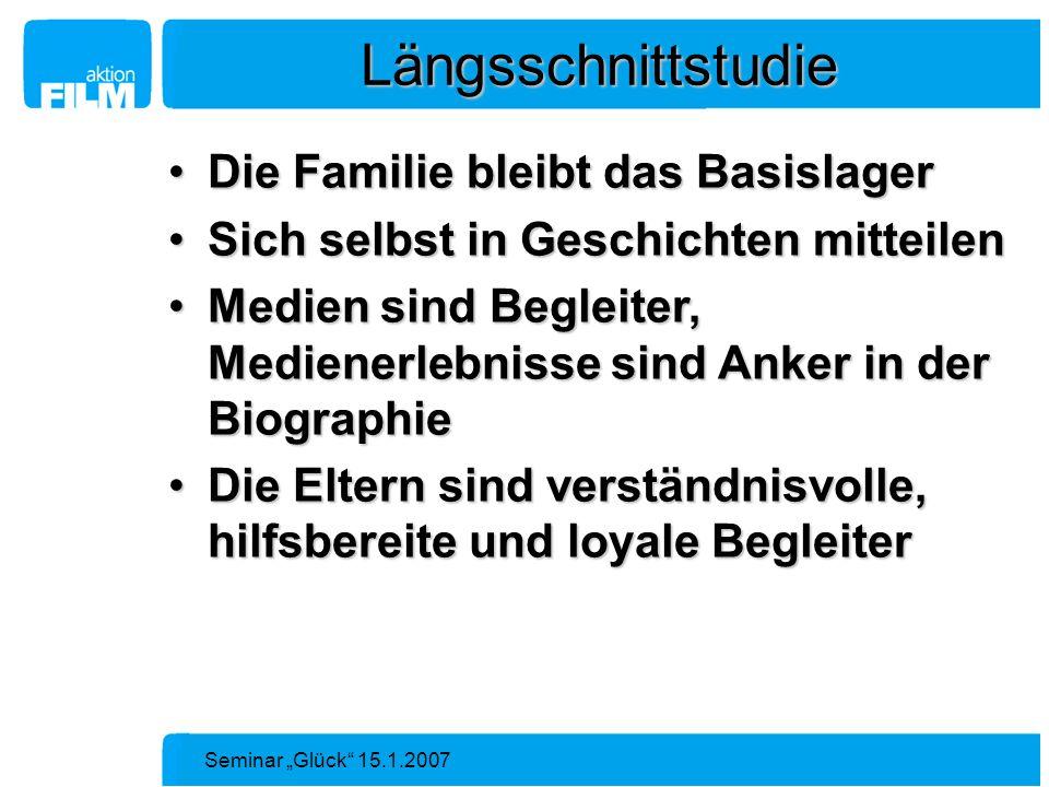 Seminar Glück 15.1.2007 Längsschnittstudie Die Familie bleibt das BasislagerDie Familie bleibt das Basislager Sich selbst in Geschichten mitteilenSich