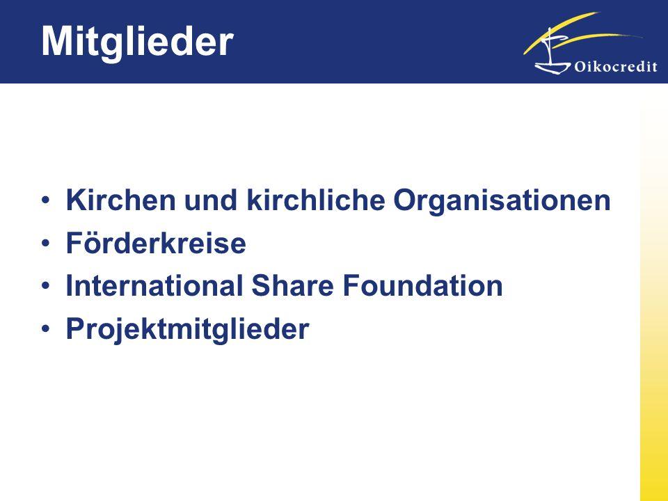 Mitglieder Kirchen und kirchliche Organisationen Förderkreise International Share Foundation Projektmitglieder