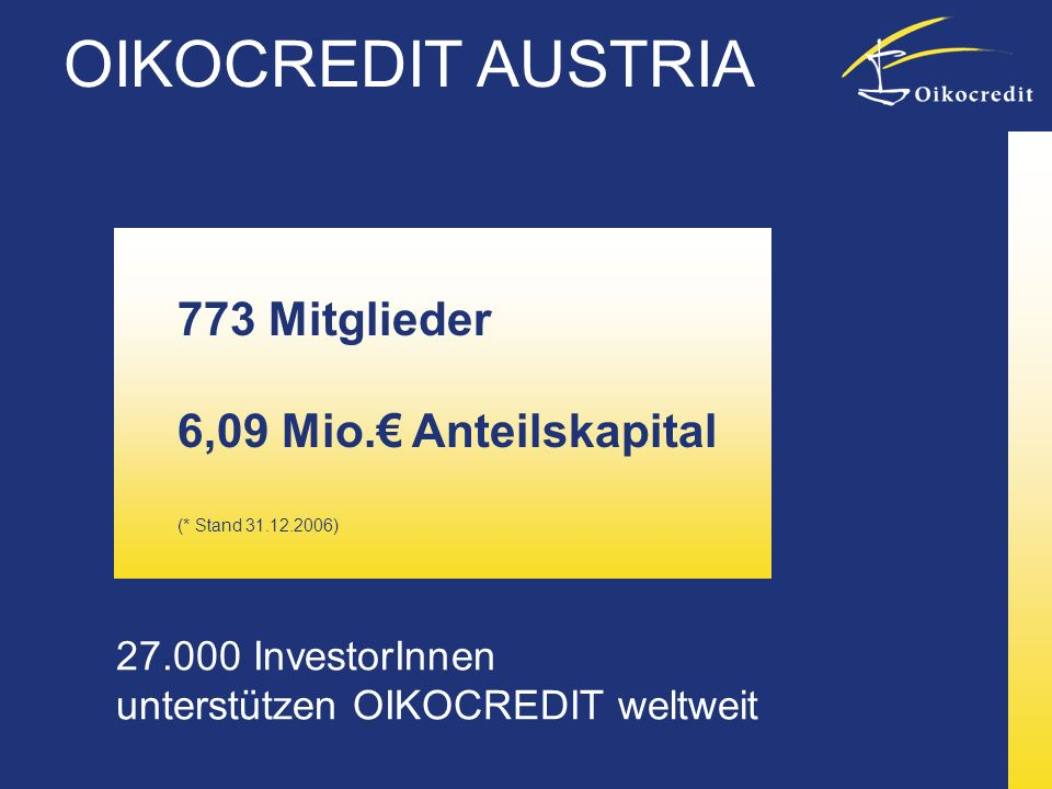 27.000 InvestorInnen unterstützen OIKOCREDIT weltweit 773 Mitglieder 6,09 Mio. Anteilskapital (* Stand 31.12.2006) OIKOCREDIT AUSTRIA