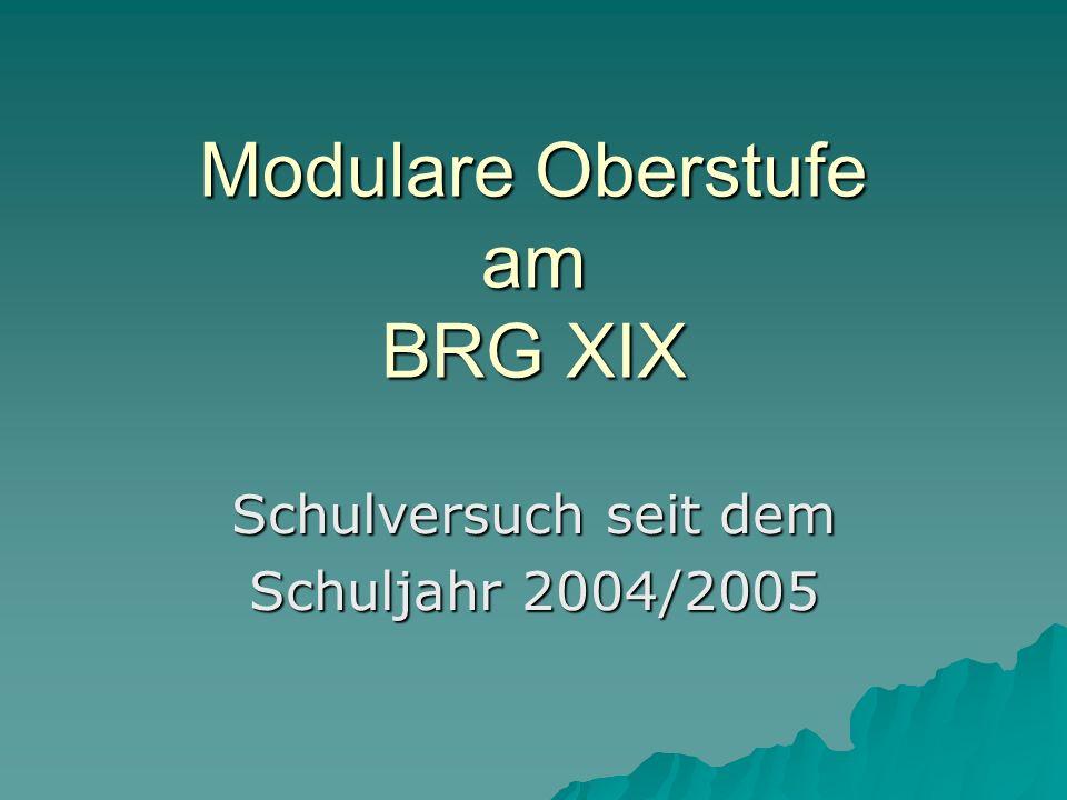 Modulare Oberstufe am BRG XIX Schulversuch seit dem Schuljahr 2004/2005