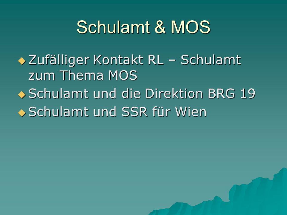 Schulamt & MOS Zufälliger Kontakt RL – Schulamt zum Thema MOS Zufälliger Kontakt RL – Schulamt zum Thema MOS Schulamt und die Direktion BRG 19 Schulamt und die Direktion BRG 19 Schulamt und SSR für Wien Schulamt und SSR für Wien