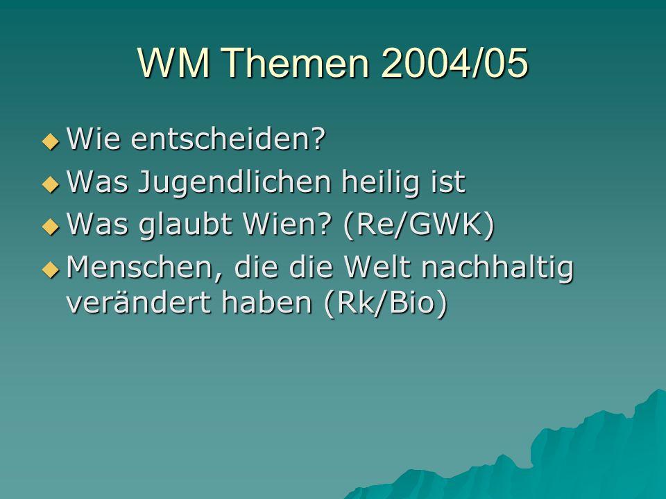 WM Themen 2004/05 Wie entscheiden. Wie entscheiden.