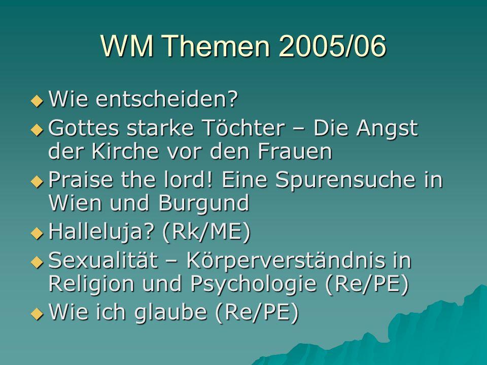 WM Themen 2005/06 Wie entscheiden. Wie entscheiden.