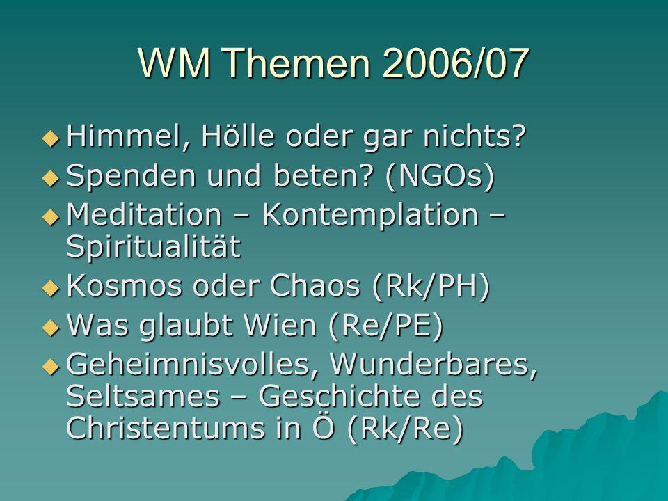 WM Themen 2006/07 Himmel, Hölle oder gar nichts. Himmel, Hölle oder gar nichts.