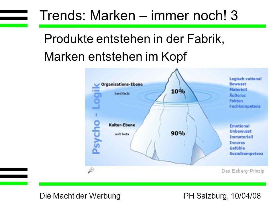 Die Macht der WerbungPH Salzburg, 10/04/08 Trends: Marken – immer noch! 3 Produkte entstehen in der Fabrik, Marken entstehen im Kopf