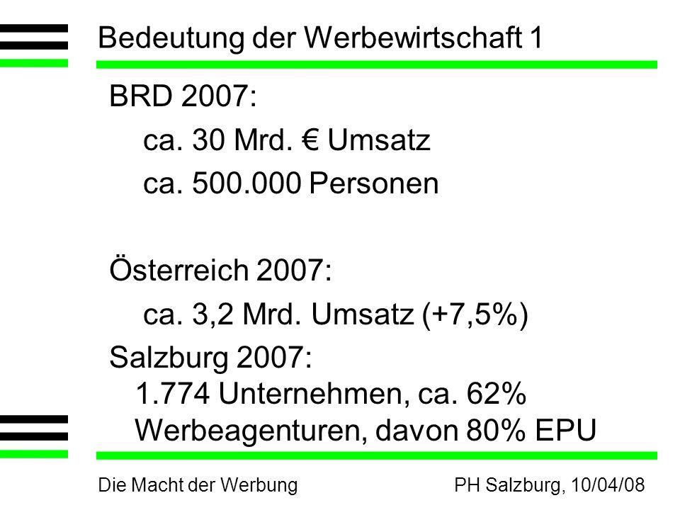 Die Macht der WerbungPH Salzburg, 10/04/08 Bedeutung der Werbewirtschaft 1 BRD 2007: ca. 30 Mrd. Umsatz ca. 500.000 Personen Österreich 2007: ca. 3,2