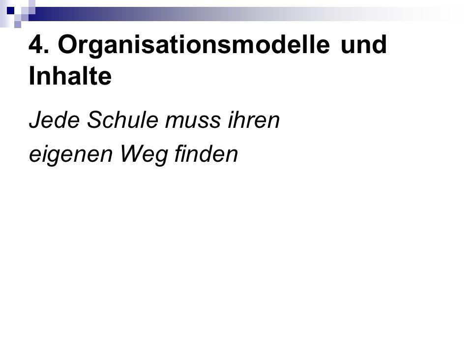 4. Organisationsmodelle und Inhalte Jede Schule muss ihren eigenen Weg finden