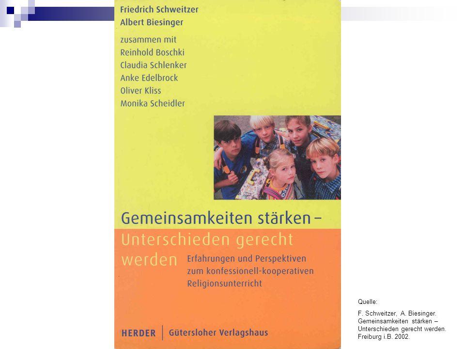 Quelle: F. Schweitzer, A. Biesinger. Gemeinsamkeiten stärken – Unterschieden gerecht werden. Freiburg i.B. 2002.