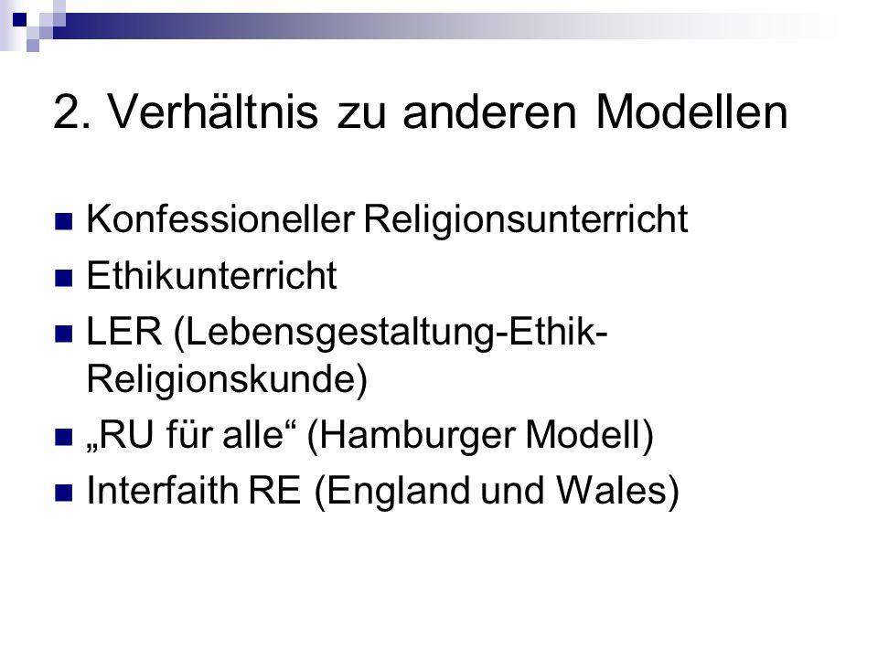 2. Verhältnis zu anderen Modellen Konfessioneller Religionsunterricht Ethikunterricht LER (Lebensgestaltung-Ethik- Religionskunde) RU für alle (Hambur