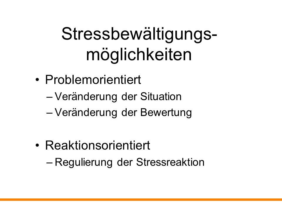 Stressbewältigungs- möglichkeiten Problemorientiert –Veränderung der Situation –Veränderung der Bewertung Reaktionsorientiert –Regulierung der Stressr