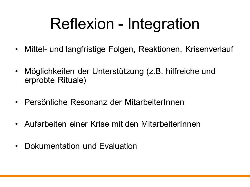 Reflexion - Integration Mittel- und langfristige Folgen, Reaktionen, Krisenverlauf Möglichkeiten der Unterstützung (z.B. hilfreiche und erprobte Ritua