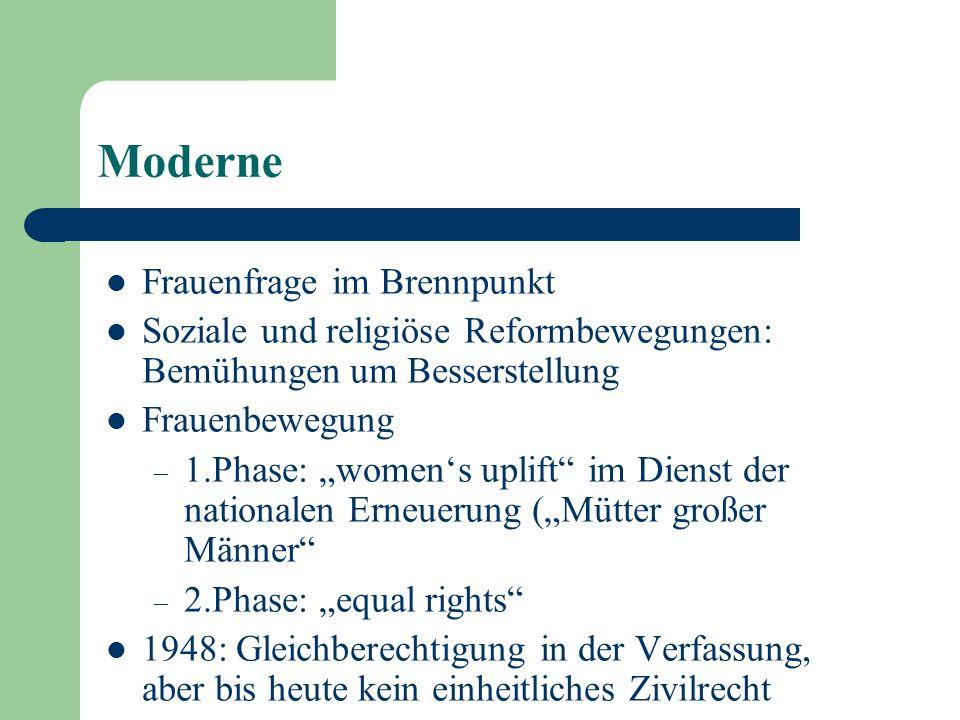 Moderne Frauenfrage im Brennpunkt Soziale und religiöse Reformbewegungen: Bemühungen um Besserstellung Frauenbewegung – 1.Phase: womens uplift im Dien