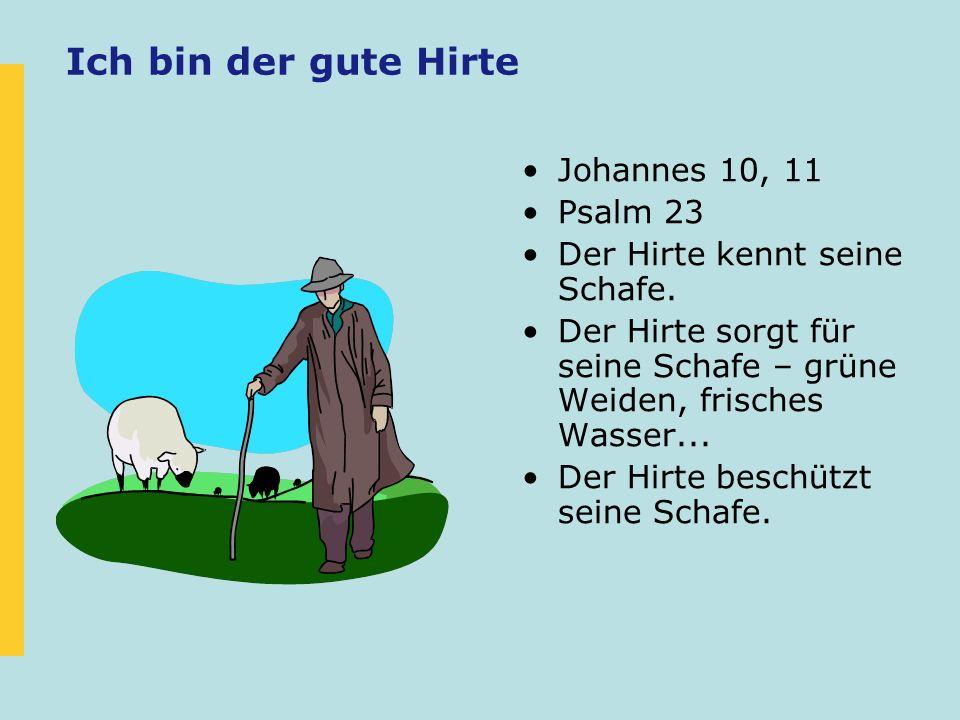 Ich bin der gute Hirte Johannes 10, 11 Psalm 23 Der Hirte kennt seine Schafe. Der Hirte sorgt für seine Schafe – grüne Weiden, frisches Wasser... Der