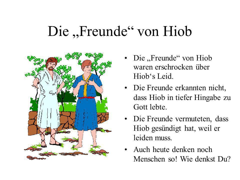 Die Freunde von Hiob Die Freunde von Hiob waren erschrocken über Hiobs Leid. Die Freunde erkannten nicht, dass Hiob in tiefer Hingabe zu Gott lebte. D