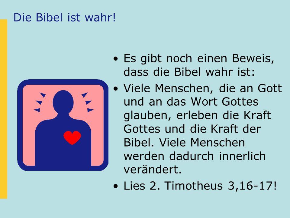 Es gibt noch einen Beweis, dass die Bibel wahr ist: Viele Menschen, die an Gott und an das Wort Gottes glauben, erleben die Kraft Gottes und die Kraft