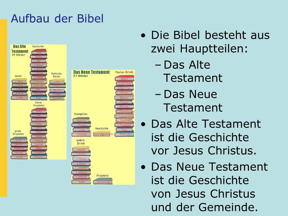 Aufbau der Bibel Die Bibel besteht aus zwei Hauptteilen: –Das Alte Testament –Das Neue Testament Das Alte Testament ist die Geschichte vor Jesus Chris