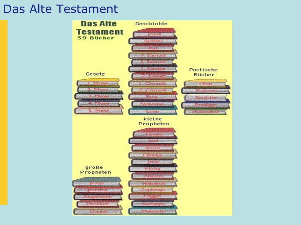 Das Alte Testament kann man so einteilen: –Die fünf Bücher Mose –Die Geschichtsbücher: Josua bis Esther –Die poetischen Bücher: Hiob, Psalmen, Sprüche, Prediger und das Hohelied –Die prophetischen Bücher Jesaja bis Daniel (grosse Propheten) Hosea bis Maleachi (kleine Propheten)