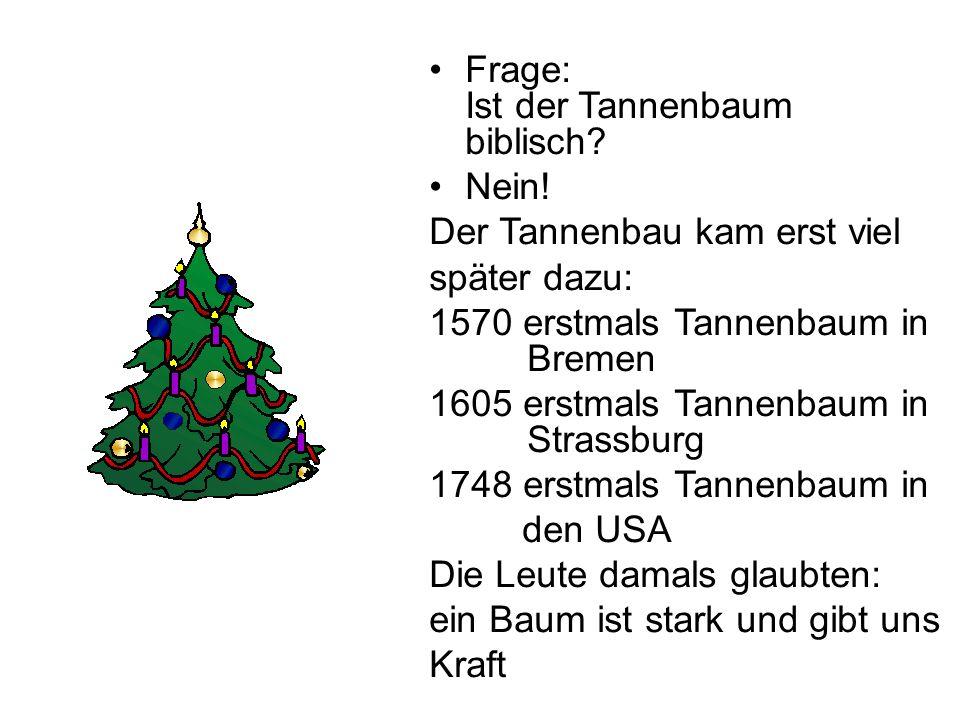 Frage: Ist der Tannenbaum biblisch? Nein! Der Tannenbau kam erst viel später dazu: 1570 erstmals Tannenbaum in Bremen 1605 erstmals Tannenbaum in Stra